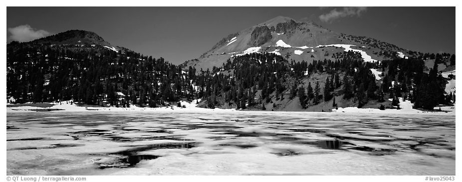 Melting ice in lake and Lassen Peak. Lassen Volcanic National Park (black and white)