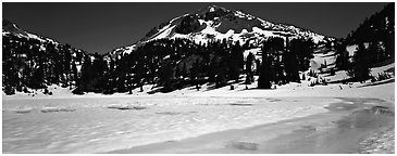 Turquoise color in ice melt below Lassen Peak. Lassen Volcanic National Park (Panoramic black and white)