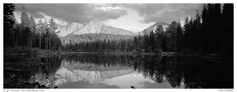 Chaos Crags reflected in lake at sunset. Lassen Volcanic National Park (black and white)
