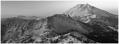 Lassen Peak at sunset. Lassen Volcanic National Park (Panoramic black and white)