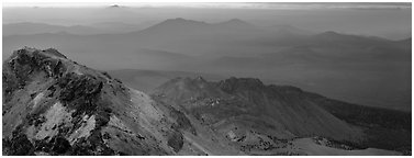 Ridges seen from Lassen Peak at sunset. Lassen Volcanic National Park (Panoramic black and white)