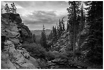 Kings Creek before drop off at sunset. Lassen Volcanic National Park ( black and white)