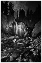 Wide view of Kings Creek Falls and starry sky. Lassen Volcanic National Park ( black and white)