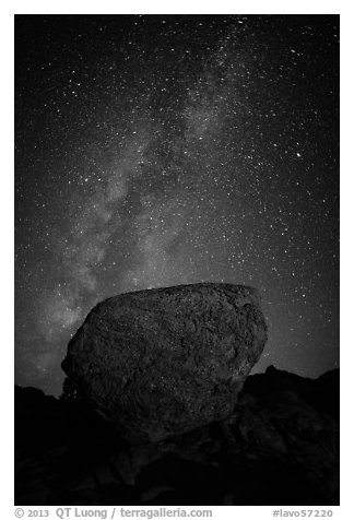 Glacial erratic boulder and Milky Way. Lassen Volcanic National Park (black and white)