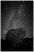 Glacial erratic boulder and Milky Way. Lassen Volcanic National Park ( black and white)