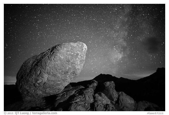 Glacial erratic, Mt Brokeoff, and Milky Way. Lassen Volcanic National Park (black and white)