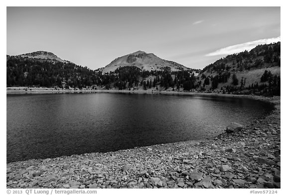 Lake Helen at dawn, late summer. Lassen Volcanic National Park (black and white)