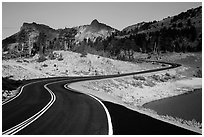 Road near Lake Helen. Lassen Volcanic National Park ( black and white)