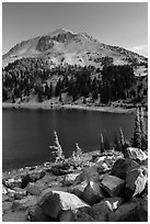 Lake Helen and Lassen Peak, late summer. Lassen Volcanic National Park ( black and white)