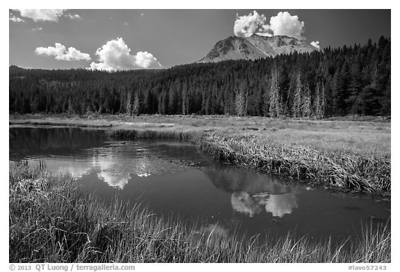 Lassen Peak above Hat Lake, late summer. Lassen Volcanic National Park (black and white)