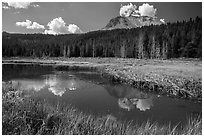 Lassen Peak above Hat Lake, late summer. Lassen Volcanic National Park ( black and white)