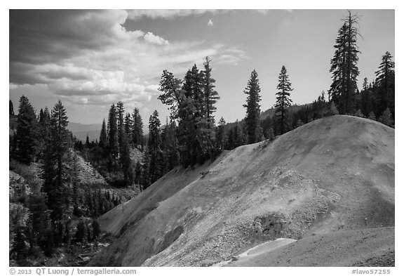 Hill with mineral deposits, Sulphur Works. Lassen Volcanic National Park (black and white)