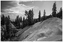 Hill with mineral deposits, Sulphur Works. Lassen Volcanic National Park ( black and white)
