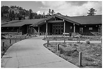 Kohm Yah-mah-nee Visitor Center. Lassen Volcanic National Park ( black and white)