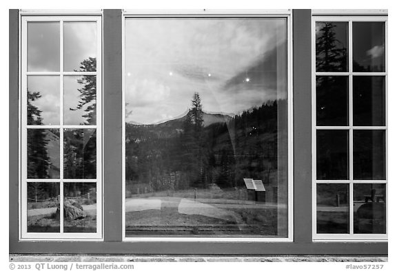 Forest and Peaks, Visitor Center window reflexion. Lassen Volcanic National Park (black and white)
