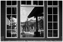 Brokeoff Mountain, Visitor Center window reflexion. Lassen Volcanic National Park ( black and white)