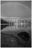 Rainbow and boulder, Juniper Lake. Lassen Volcanic National Park ( black and white)