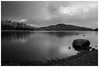 Raindrops in Juniper Lake. Lassen Volcanic National Park ( black and white)