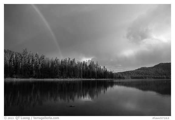 Rainbow and clearing storm, Juniper Lake. Lassen Volcanic National Park (black and white)