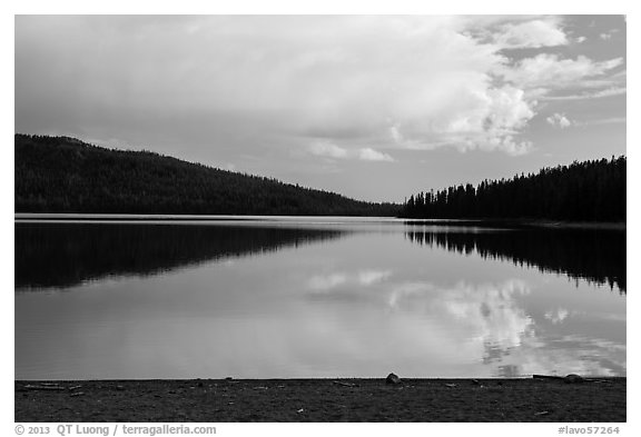 Juniper Lake, late afternoon. Lassen Volcanic National Park (black and white)