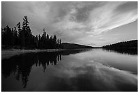 Colorful sunset, Juniper Lake. Lassen Volcanic National Park ( black and white)