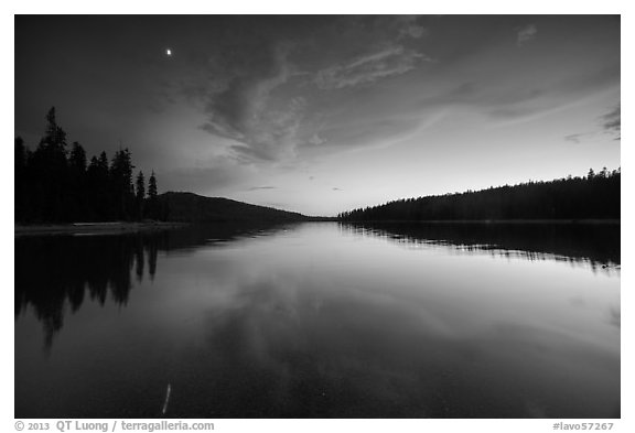 Moon and reflection, Juniper Lake. Lassen Volcanic National Park (black and white)