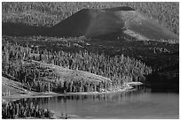 Cinder Cone, Fantastic Lava Beds, and Snag Lake. Lassen Volcanic National Park ( black and white)