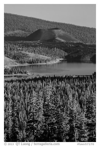 Cinder Cone and Snag Lake from Inspiration Point. Lassen Volcanic National Park (black and white)