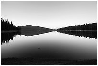Juniper Lake at dawn. Lassen Volcanic National Park ( black and white)