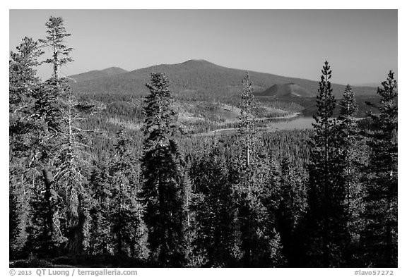 Prospect Peak, Cinder Cone, and Snag Lake from Inspiration Point. Lassen Volcanic National Park (black and white)