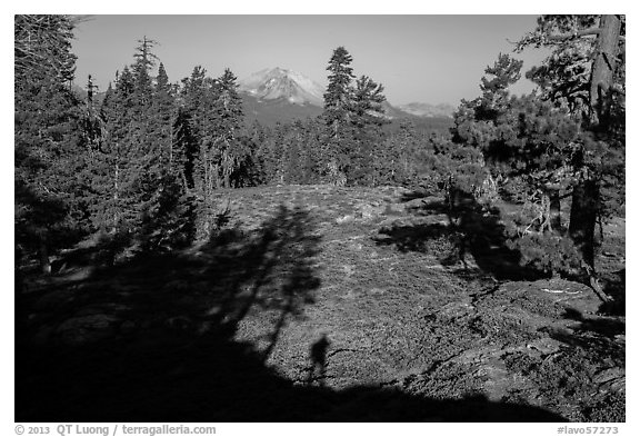 Lassen Peak from Inspiration Point with photographer shadow. Lassen Volcanic National Park (black and white)
