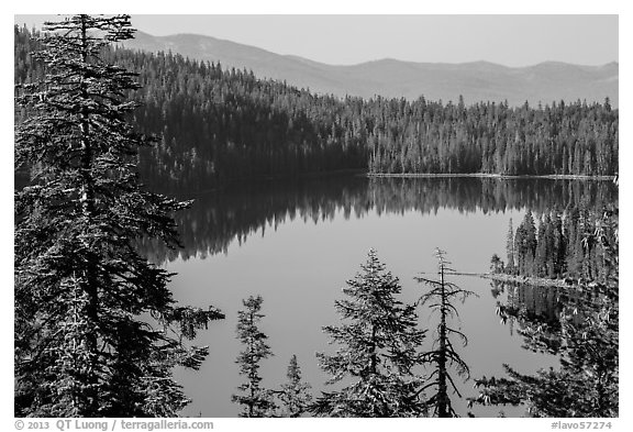 Juniper Lake and Mount Harkness. Lassen Volcanic National Park (black and white)