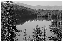 Juniper Lake and Mount Harkness. Lassen Volcanic National Park ( black and white)