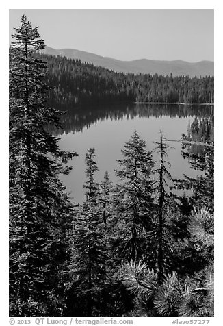 Juniper Lake from above. Lassen Volcanic National Park (black and white)