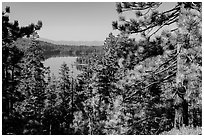 Juniper Lake from Inspiration Point. Lassen Volcanic National Park ( black and white)