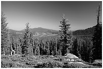 Visitor Looking, Inspiration Point. Lassen Volcanic National Park ( black and white)