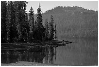 Mount Harkness above Juniper Lake. Lassen Volcanic National Park ( black and white)