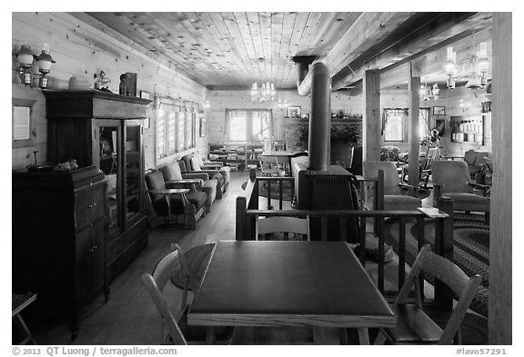 Lobby room, Drakesbad. Lassen Volcanic National Park (black and white)