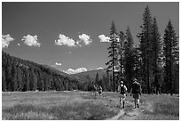 Hikers, Warner Valley. Lassen Volcanic National Park ( black and white)