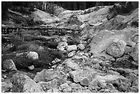 Sulfur deposits next to Hot Springs Creek. Lassen Volcanic National Park ( black and white)