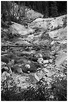 Hot Springs Creek, Devils Kitchen. Lassen Volcanic National Park ( black and white)