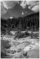 Devils Kitchen hydrothermal area. Lassen Volcanic National Park ( black and white)