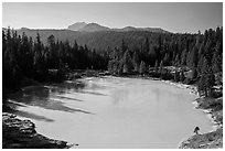 Boiling Springs Lake and Lassen Peak. Lassen Volcanic National Park ( black and white)