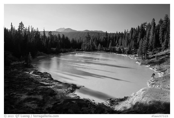 Boiling Springs Lake with long shadows in late afternoon. Lassen Volcanic National Park (black and white)