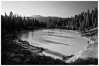 Boiling Springs Lake with long shadows in late afternoon. Lassen Volcanic National Park ( black and white)
