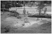 Red earth and greenish waters of Boiling Springs Lake. Lassen Volcanic National Park ( black and white)
