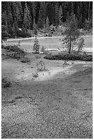 Red cracked mud next to Boiling Springs Lake. Lassen Volcanic National Park ( black and white)