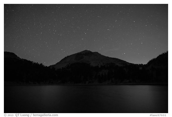 Lake Helen and Lassen Peak at night. Lassen Volcanic National Park (black and white)