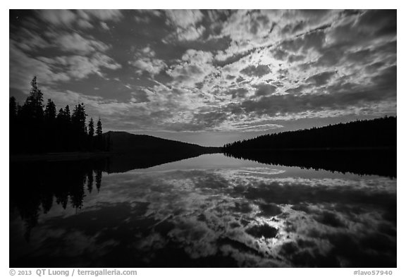 Moonlit clouds over Juniper Lake at night. Lassen Volcanic National Park (black and white)