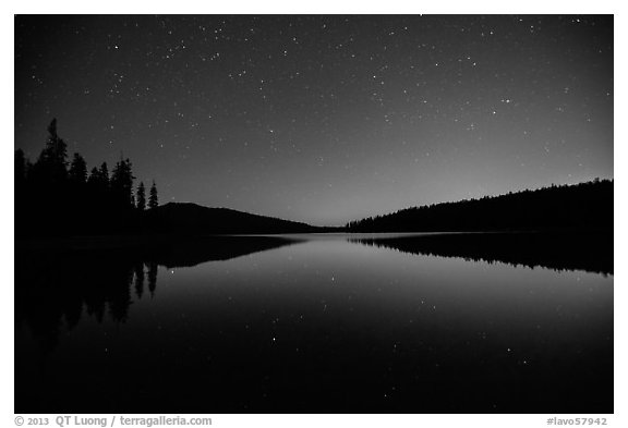Juniper Lake at night after moonset. Lassen Volcanic National Park (black and white)